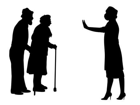 Silhouettes of grandparents and doctor showing stop gesture