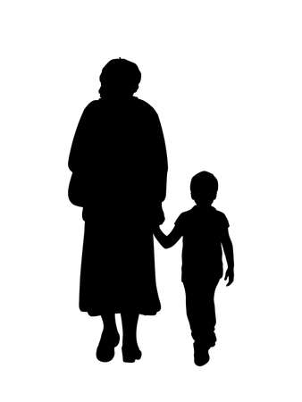 Silhouette of grandmother walking with grandson