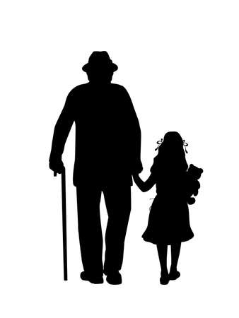 Silhouette of grandfather walking with granddaughter 矢量图像