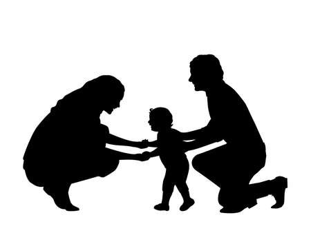Silhouette of parents with little son first steps
