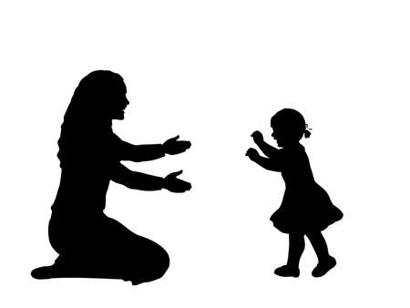 Silhouette of little daughte taking the first steps towards his mother
