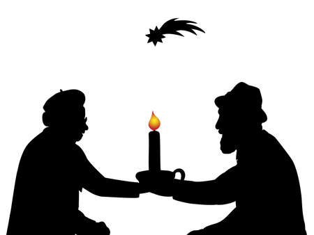 Silhouettes grandparents with christmas candle. Christmas star