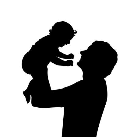 Silhouette happy father holding newborn baby in air closeup