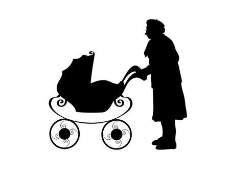 Silhouette of grandmother with baby stroller