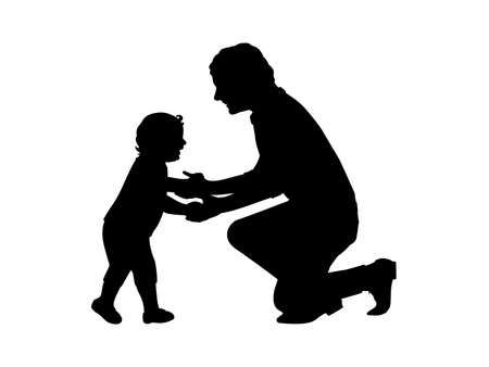 Silhouette father holding little son by hands