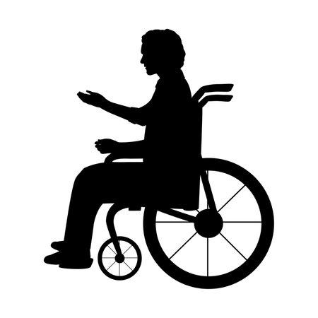 Silhouette man sitting in wheelchair