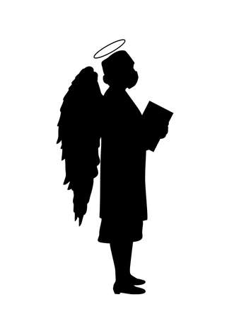 Silhouette doctor woman angel saving lives people