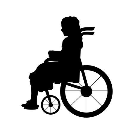 Silhouette child girl sitting in wheelchair