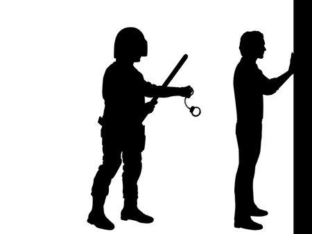 Silhouettea policeman wants to arrest man Vecteurs