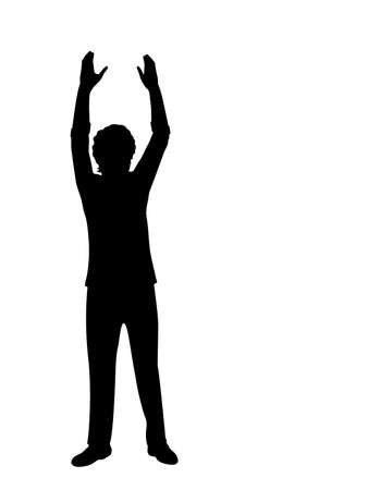Silhouette man with your hands up Ilustracje wektorowe