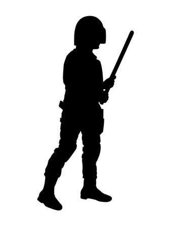 Silhouette of policeman with baton Illustration