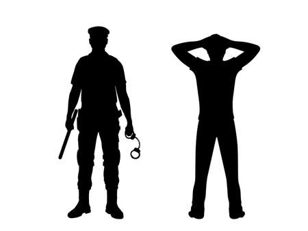 Silhouette man is arrested by police. Hands behind head. Vecteurs