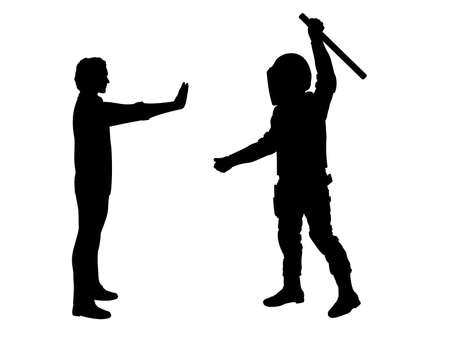 Silhouette policeman swung his baton at an unarmed civilian man Illustration