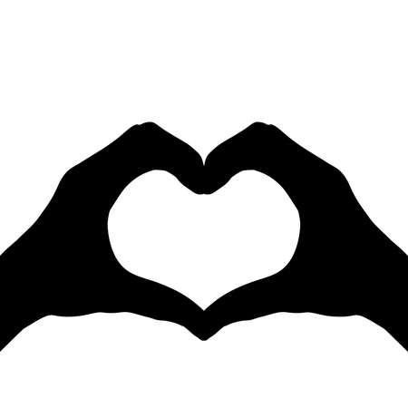 Silhouettes hands making heart symbol love