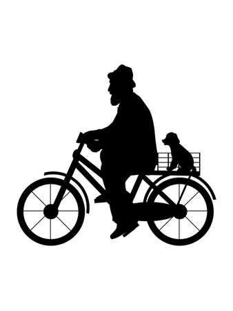 Silhouette senior man grandfather is riding bicycle with dog. Ilustrace