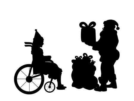 Silhouettes Santa claus give present of girl in wheelchair. Christmas holiday