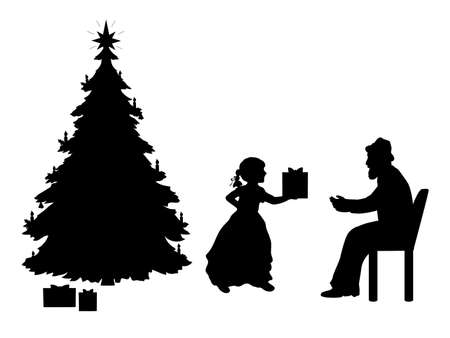 Silhouettes of granddaughter giving grandfather a gift by the Christmas tree