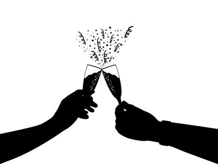 Silhouettes of two hands with glass of champagne. Symbol holiday.
