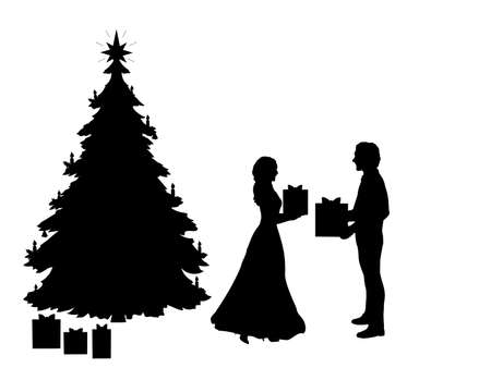 Silhouettes of man and woman giving each other gifts at christmas tree. Christmas holiday
