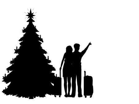 Silhouettes men and women dream to travel in the coming new year. Christmas tree.