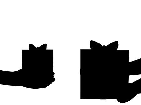 Silhouettes of hands holding gifts
