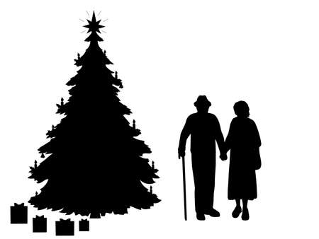 Silhouettes grandparents by the christmas tree. Christmas holiday