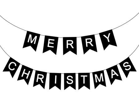 Decorative holiday flags with the inscription Merry Christmas