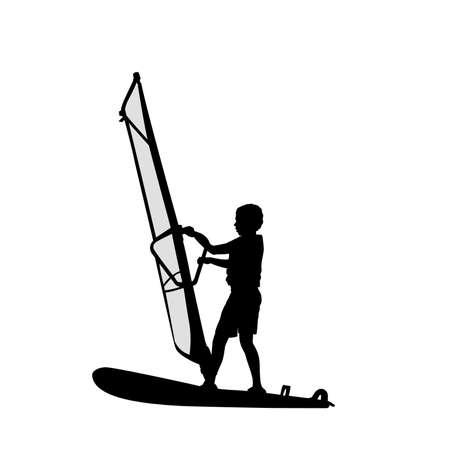 Silhouette boy learning to windsurf. Windsurfing water sport 矢量图像