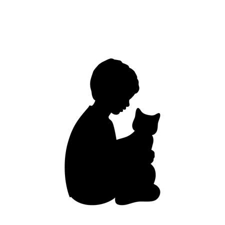 Silhouette little boy sitting with cat