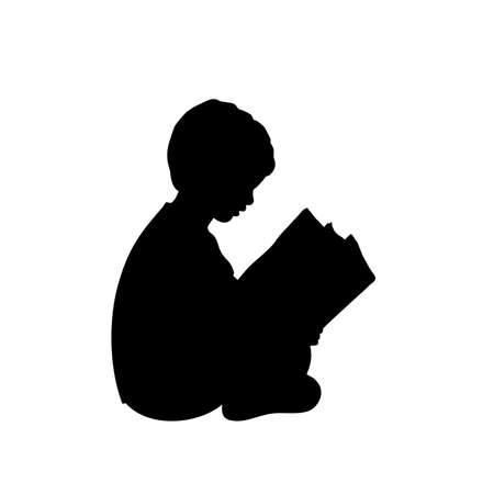 Silhouette baby boy reading book