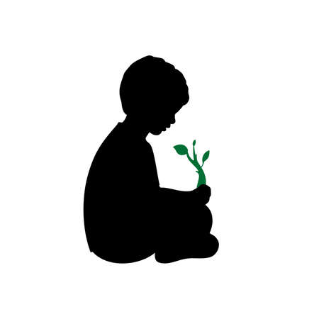 Silhouette little baby boy sitting guarding plant sprout 矢量图像