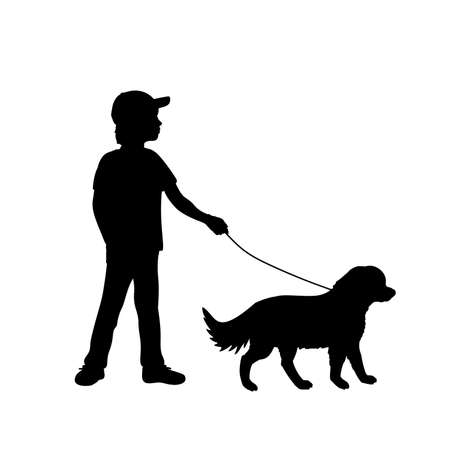Silhouette boy walking the dog