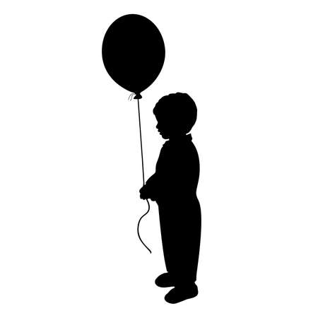 Silhouette little baby boy holiday hand balloon