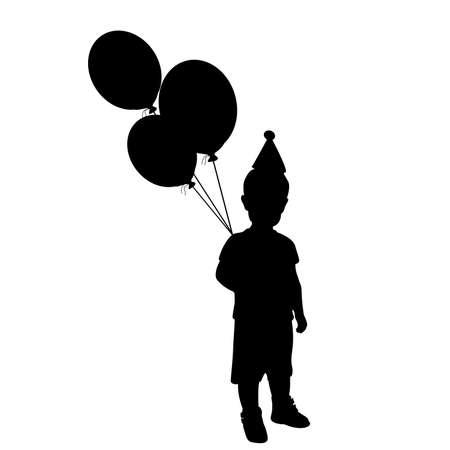 Silhouette little boy holiday birthday 矢量图像