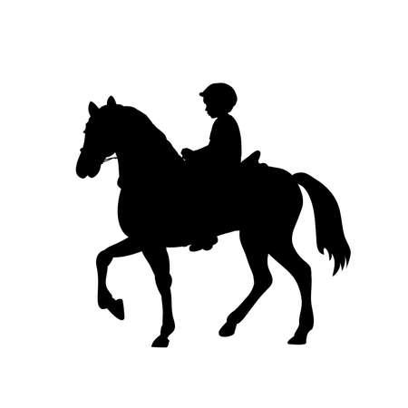 Silhouette boy rider horseback equitation.