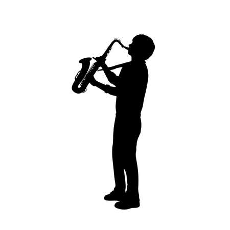 Silhouette boy music playing the saxophone.