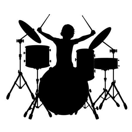 Silhouette boy music plays the percussion.