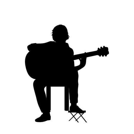 Silhouette guy music playing guitar