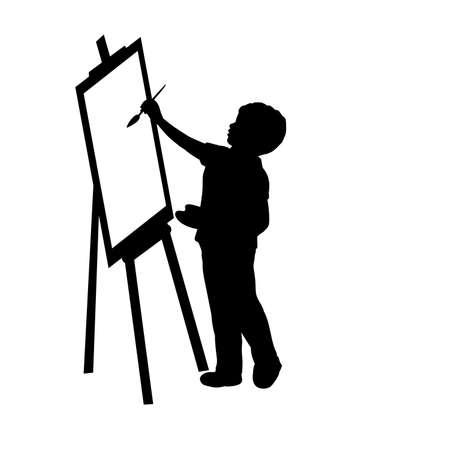 Silhouette child boy artist paints on canvas.
