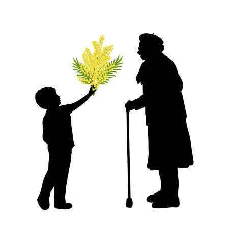 Silhouette little boy gives grandmother flowers.