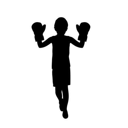 Silhouette boy wearing boxer gloves. 矢量图像
