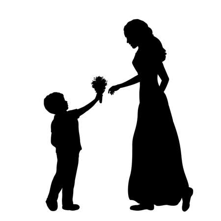 Silhouette little boy gives mom flowers . Mothers day. 矢量图像