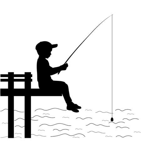 Silhouette little boy is fishing 矢量图像