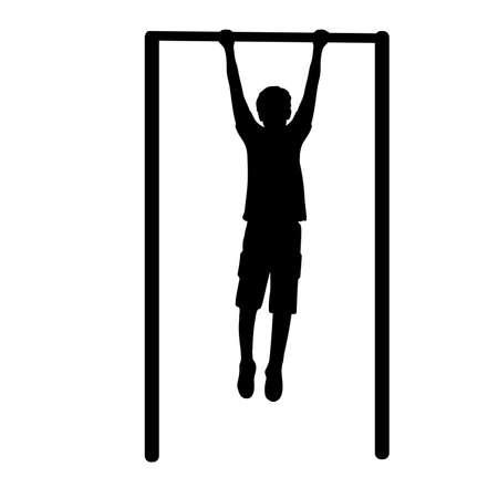 Silhouette boy playing sports on horizontal bar