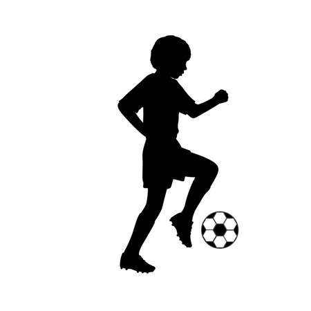 Silhouette young footballer playing football 矢量图像