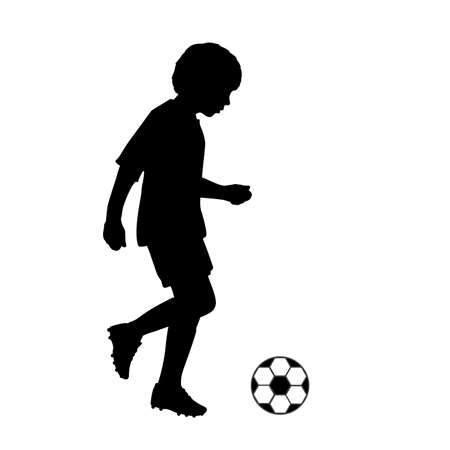 Silhouette child joggling with soccer ball