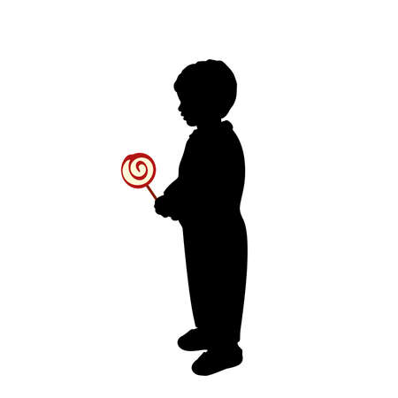 Silhouette little boy hold sweet candy.