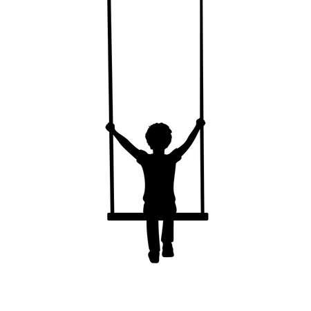Silhouette little boy sitting on swing behind