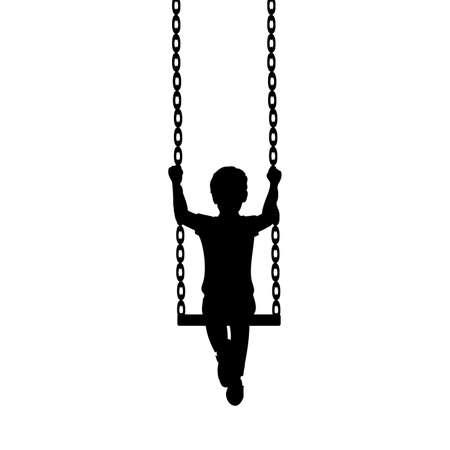 Silhouette hild boy sitting on swing in front