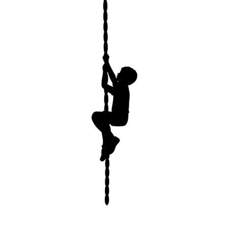 Silhouette boy climb up the rope